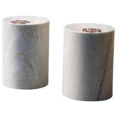 AKMD Collection to Die for Inlaid Marble Stool Table