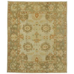 Contemporary Turkish Oushak Rug with Earthy Colors and Cottage Style