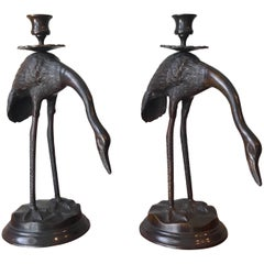 Pair of Bronze Japanese Candlesticks
