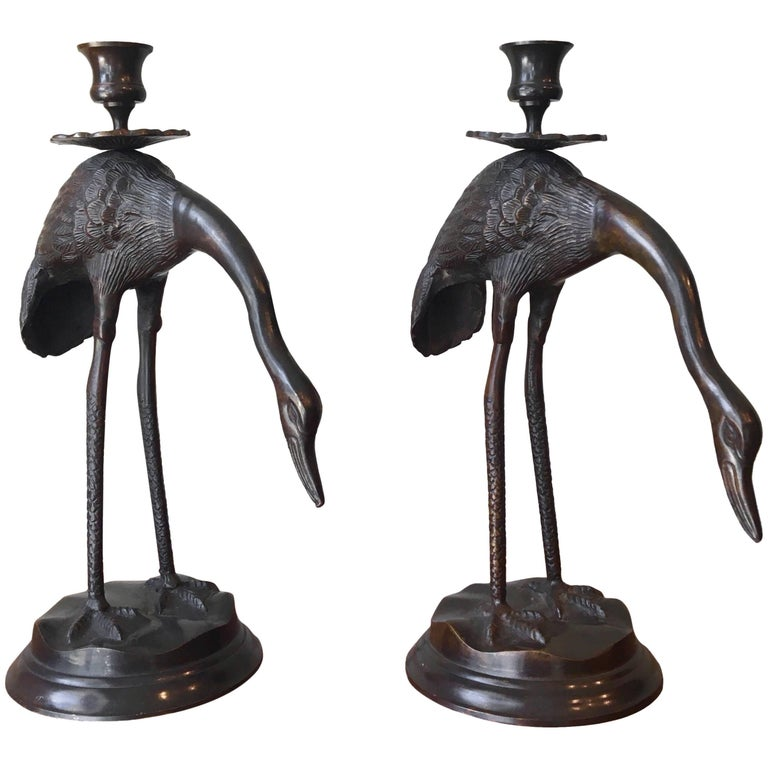 Pair of Bronze Japanese Candlesticks For Sale
