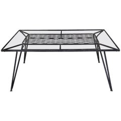 American Mid-Century Modern Iron and Glass Dining Patio Table by Salterini