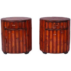 Pair of Round Bamboo End Tables