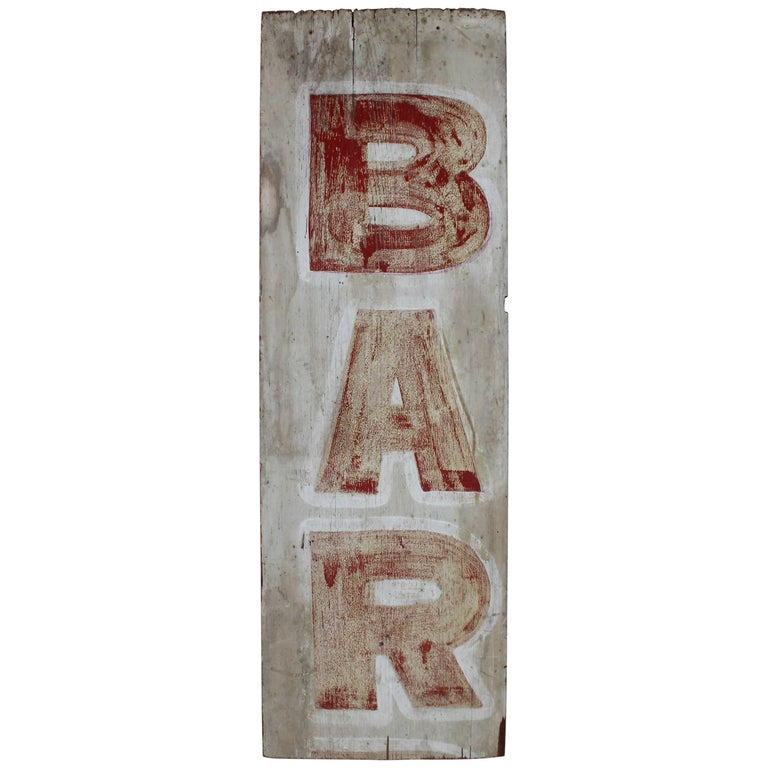 19th Century Bar Trade Sign in Original Paint