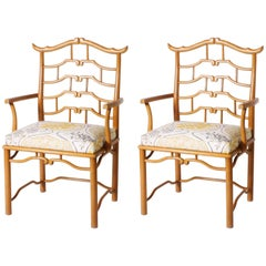Pair of Upholstered Pagoda Armchairs, circa 1970