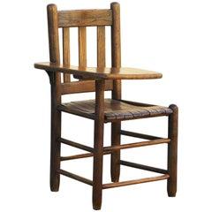 Antique Craftsman Wood School Desk with Seat