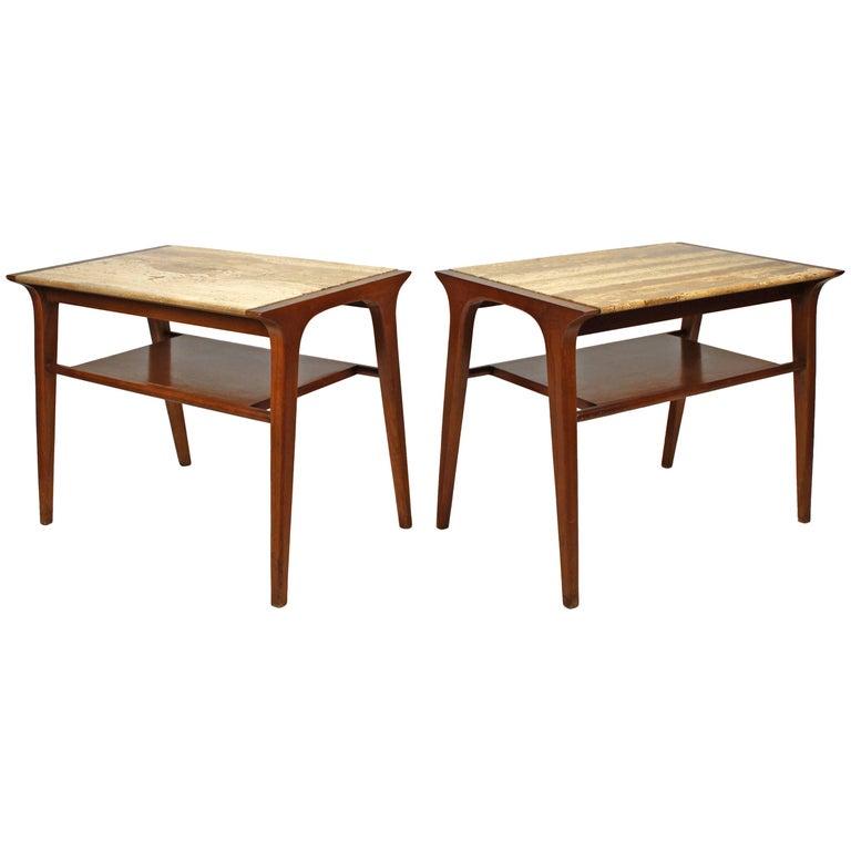 John Van Koert Walnut and Travertine Side Tables for Drexel For Sale