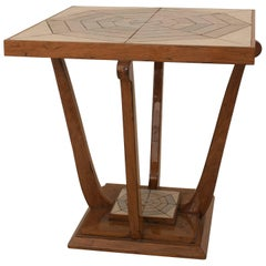 French Art Deco, 1930s Cherrywood Square End Table