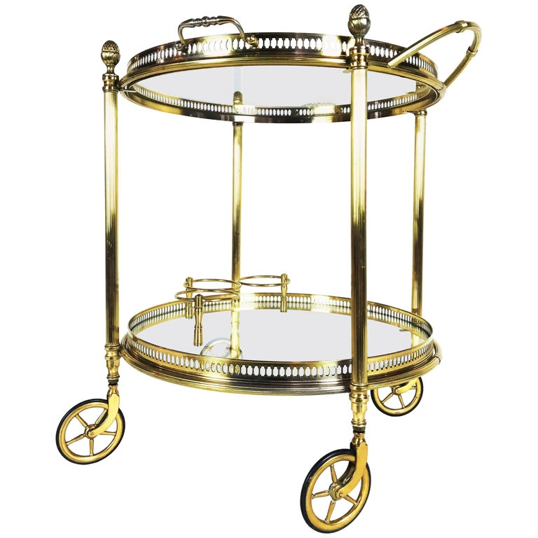 Art Deco Maison Baguès Paris Brass Bar Cart, 1930s, France