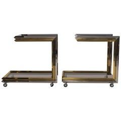 Pair of Chrome and Brass Bar Carts