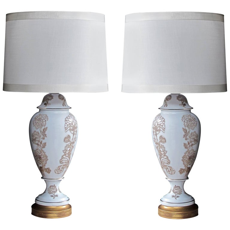 Pair of American Frederick Cooper Blanc de Chine Lamps with Raised Decoration For Sale