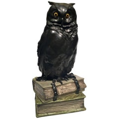 Black Owl on Books USA Art Nouveau Porcelain, circa 1900