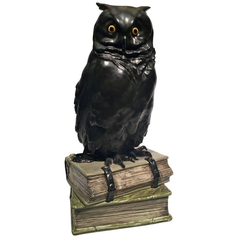 Black Owl on Books USA Art Nouveau Porcelain, circa 1900 For Sale