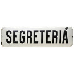 1930s Italian Enamel Metal Curved Segreteria Sign