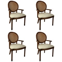 Rare Set of Four Dining Armchairs by Jay Spectre