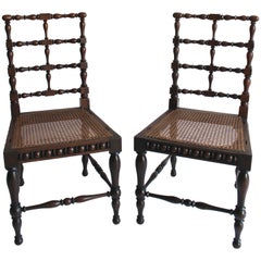 Pair of Late 19th Century Austrian Rosewood Spindle Chairs with Cane Seats