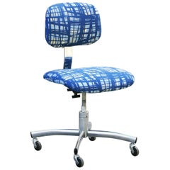 Vintage Chrome Steelcase Task Chair with Abstract Fabric