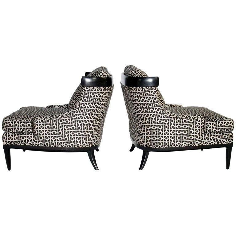 Tomlinson Sophisticate Pair of Slipper Chairs by Erwin Lambeth