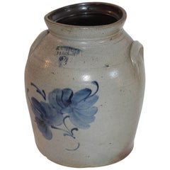 19th Century Decorated Stoneware Canadian Crock