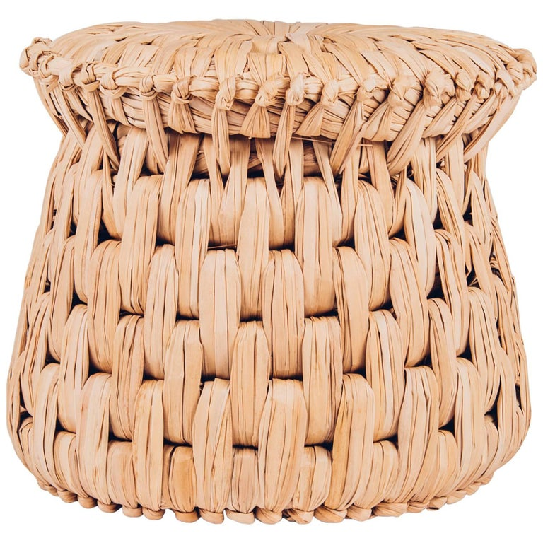 Handcrafted Palm Woven Tule Stool/Ottoman by Txt-ure for Luteca 1