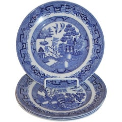 19th Century Blue Willow Plates Made by L. Bamberger and Co.