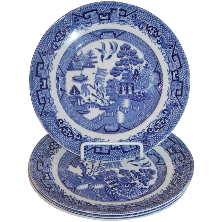 19th Century Blue Willow Plates Made by L. Bamberger and Co. For Sale