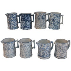 19th Century Sponge Ware Collection of Eight Pottery Pitchers