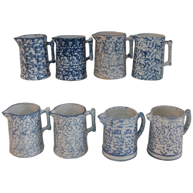 19th Century Sponge Ware Collection of Eight Pottery Pitchers For Sale