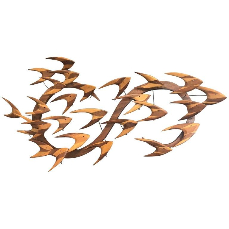 Midcentury Fish School Wall Sculpture