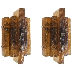 Pair of Italian Midcentury Blown & Chiseled Murano/Venetian Amber Glass Sconces