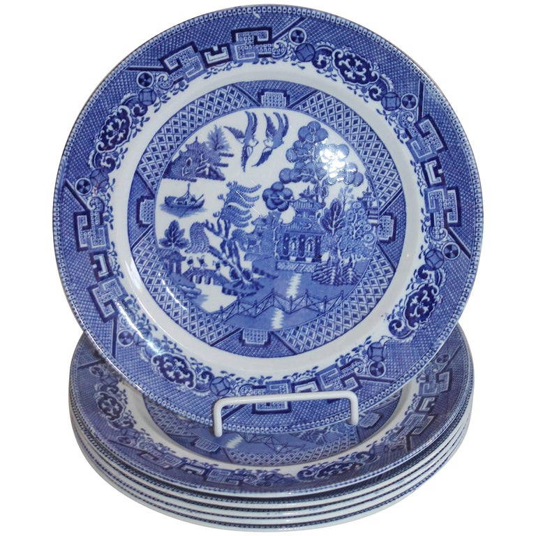 Grimwades Set of Six Blue Willow Plates For Sale