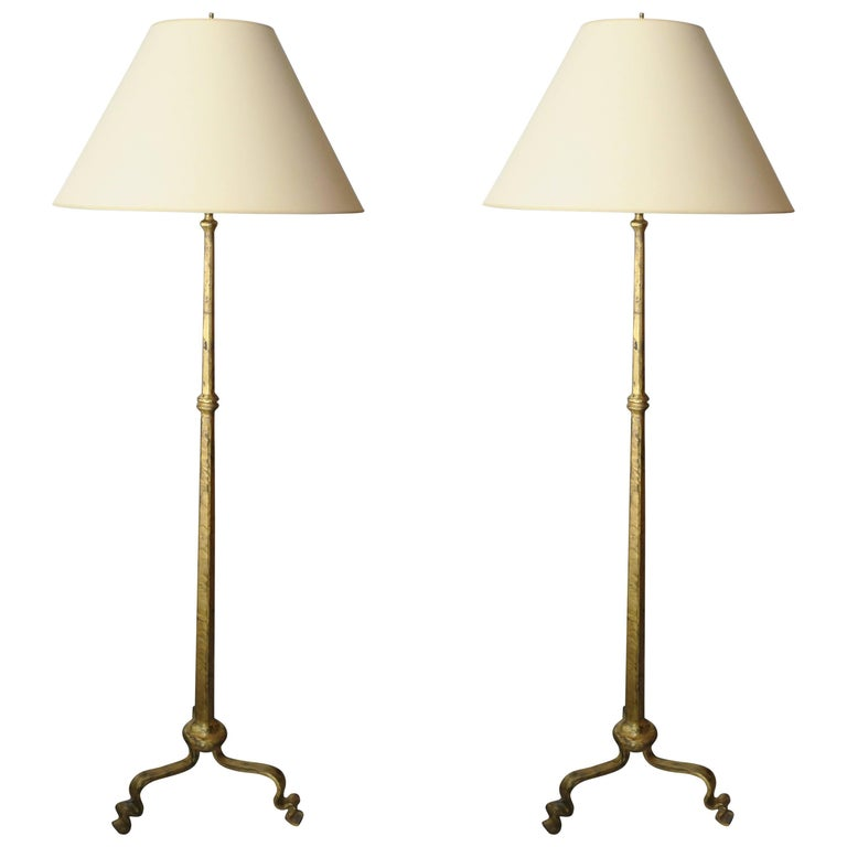 Wrought Iron Floor Lamps Gorgeous Pair Of Gilt Wrought Iron Floor Lamps In The Ramsay Manner For Sale