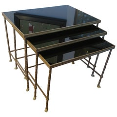 Set of Three Faux-Bamboo Brass Nesting Tables with Smoked Glass Tops