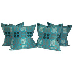 Pair of Woven Jacquard Coverlet Pillows