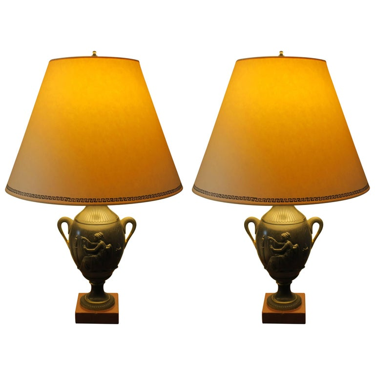 Pair of Antique French Bronze Urn Lamps in the Neoclassic Manner