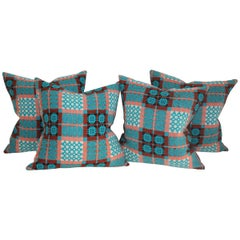 21st Century Woven Jaquard Coverlet Pillows, Pair
