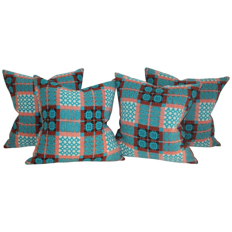 21st Century Woven Jaquard Coverlet Pillows, Pair For Sale