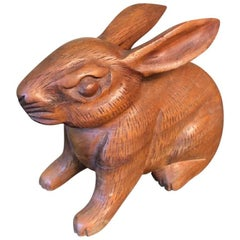 Japanese Big Tall Ears Rabbit Hand-Carved Wooden Sculpture with Fine Details