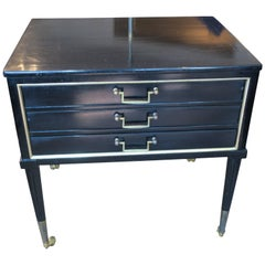 Unusual French Directoire-Style Ebonized End Table with Pull-Out Drawers