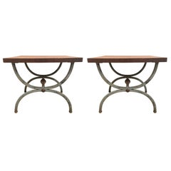 Pair of Grey Finish Tomlinson Pavane Forged Iron Parquetry Side Tables