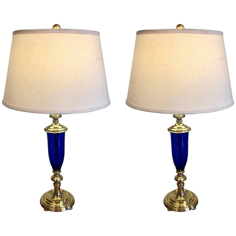 Pair of Cobalt Blue and Brass-Mounted Urn Lamps by Pairpoint