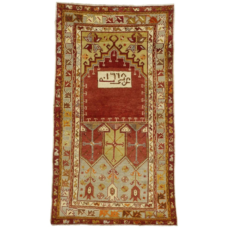 Foyer Rugs Sale : Vintage turkish oushak accent rug prayer