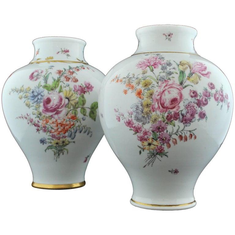 Near Pair of Baluster Shape Vases, Chelsea, circa 1755