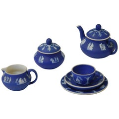 Miniature Teawares, Cabaret Set, Cobalt Jasper, Wedgwood, circa 1900