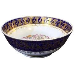 Large Miles Mason Porcelain Punch Bowl, Gilt Borders on Blue, circa 1805