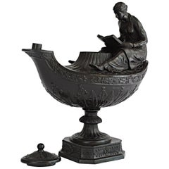 Vestal Lamp in Black Basalt, Wedgwood, circa 1860