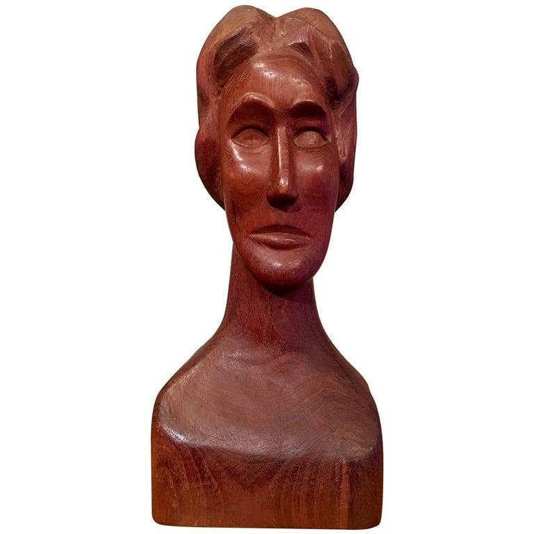 Wooden Folk Art Sculpture of a Woman