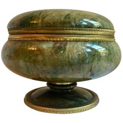 Footed Lidded Marble Vanity Jar with Brass Details