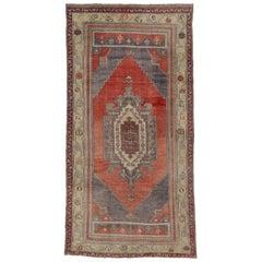 Vintage Oushak Gallery Rug with Tribal Pattern, Wide Hallway Runner