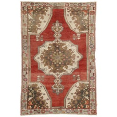 Vintage Turkish Oushak Accent Rug with Rustic Tudor Style