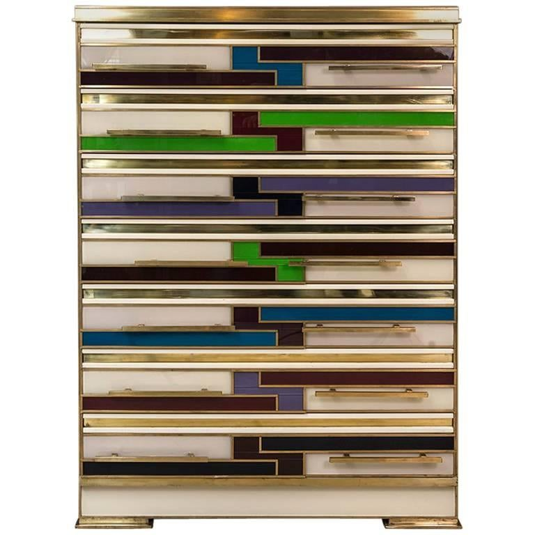 Italian Chest of Drawers with Multicolored Opaline Glass Inlays, 1980s